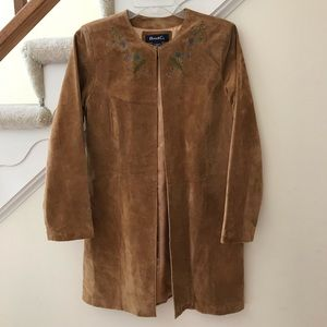 Brown suede leather coat jacket with embroidery